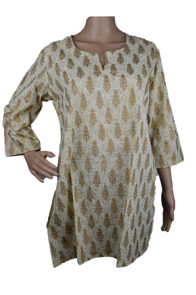 Cotton Yoga Tunic Beige with Gold Pine Print