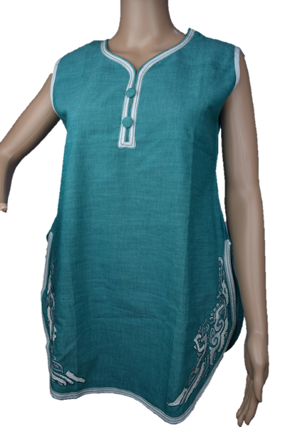 White/Green Embroidered Tunic