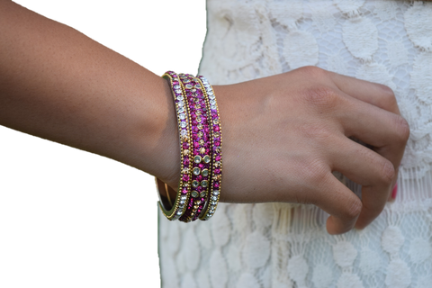Hot Pink Rhinestone Bracelets Set