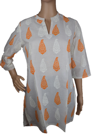 Cotton Yoga Tunic Off White with Orange/White print
