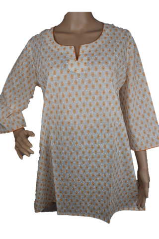 Cotton Yoga Tunic Off White with Orange print