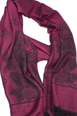 Spiritual Pashmina - ॐ and Ganesh  HotPink