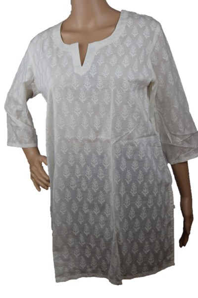 Cotton Yoga Tunic White with White print