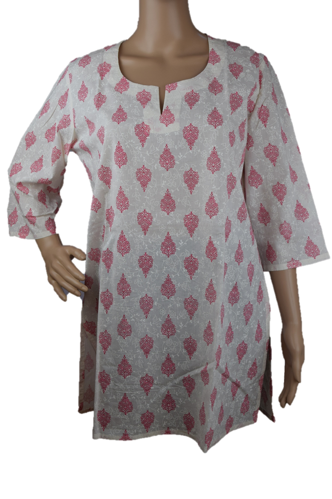 Cotton Yoga Tunic Off White with Pink print