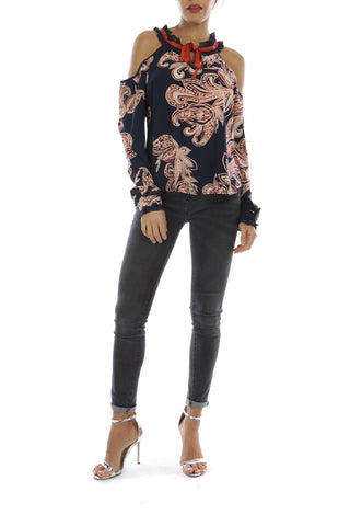 Boutique collection | Cold shoulder flower top navy