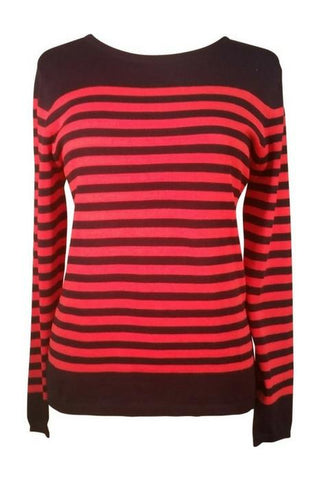 Fransa clothing coral and blue stripe jumper mistripes