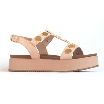 Blush sandal with metallic discs