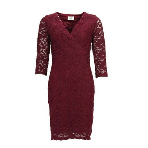 Wine lace dress with sleeves Isay clothing Angel dress