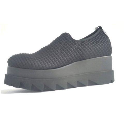 Marco Moreo chunky platform sole shoe in black textured fabric