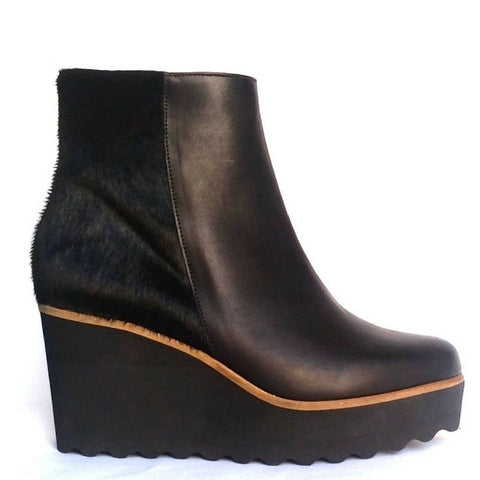 Pedro Anton shoes black wedge ankle boot