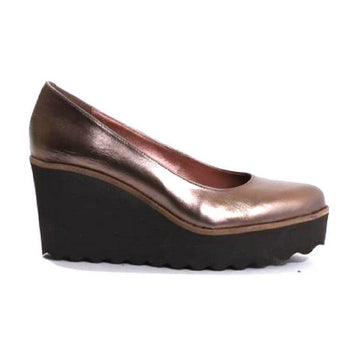 Bronze leather wedge shoe by Pedro Anton