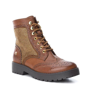 thick soled laced camel boot
