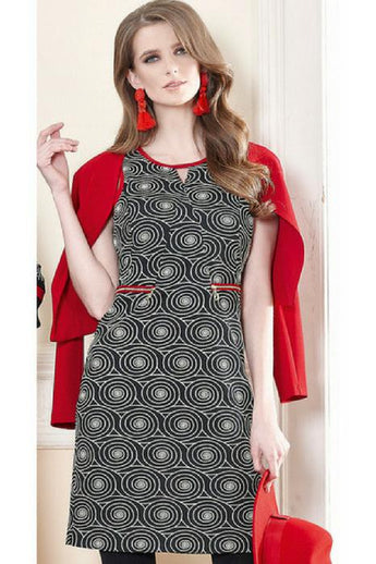 batida geometric pattern dress in black and white with red trim