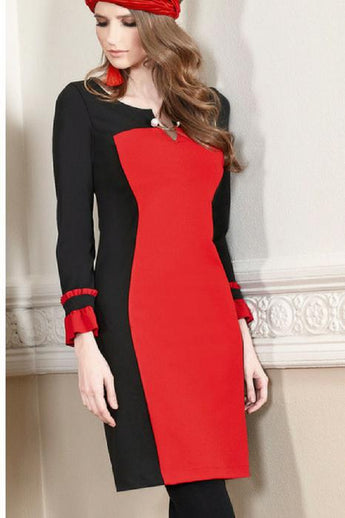 batida dress 7352 black with red panels long sleeves and pleated cuffs
