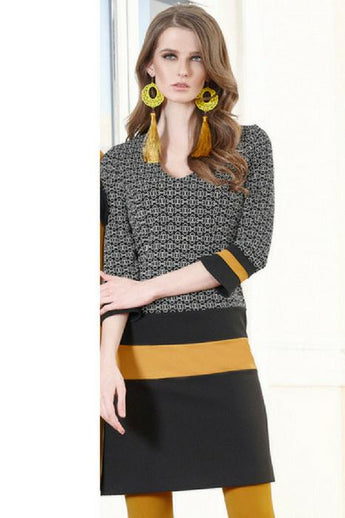blck dress with mustard stripe and 3/4 sleeve