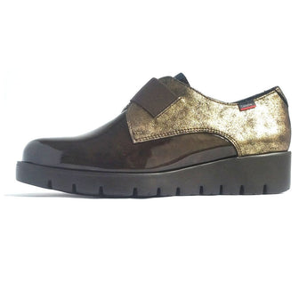 callaghan slip on shoe brown patent and gold leather