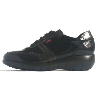 callaghan black and grey patent runner style shoe