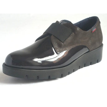 callaghan brown patent and leather shoe with elastic band