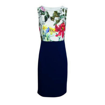 Dress 17213 navy and floral