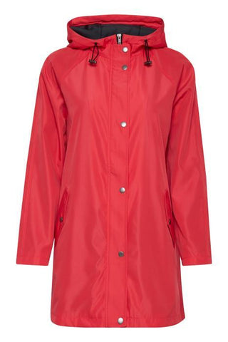 Fransa clothing rain jacket in coral colour