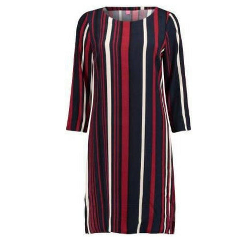 kyra and ko meise stripped dress in navy and red