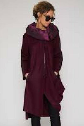 naya purple boiled wool coat