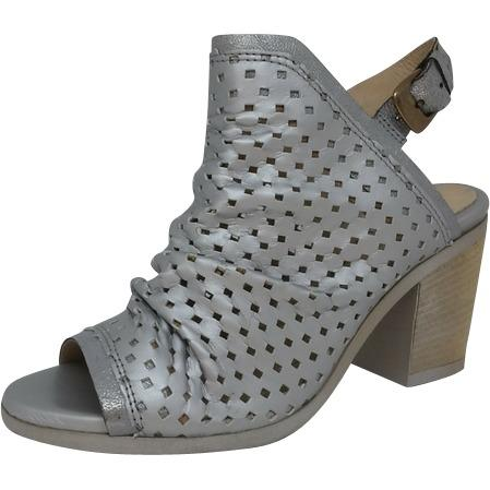 silver sandal with block heel