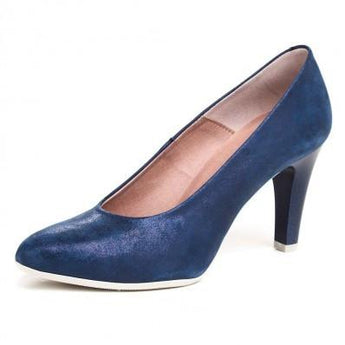 pitillos shoes navy high heeled court shoe