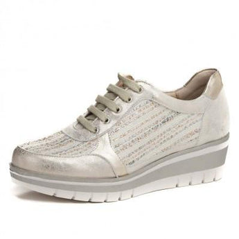 pitillos shoes silver and beige runner