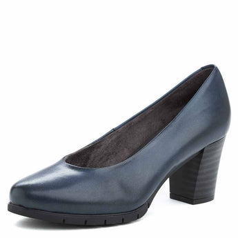 comfortable navy leather court shoe