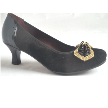 Marco Moreo black suede kitten heel court shoe A091. jpeg
