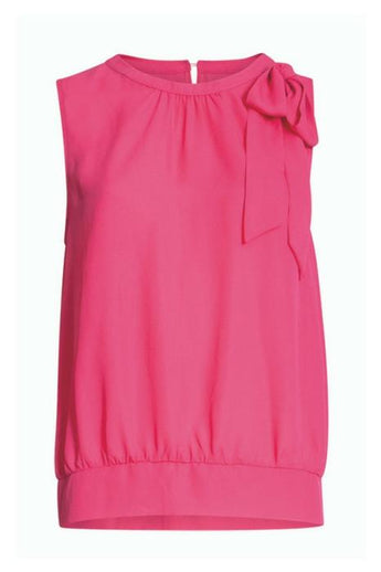 pink sleeveless top with bow