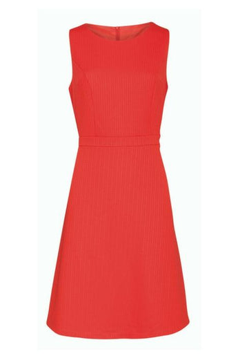 coral colour sleeveless skater dress