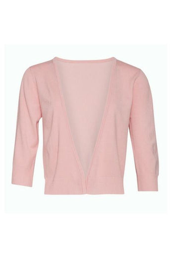 blush colour 3/4 sleeve short cardigan
