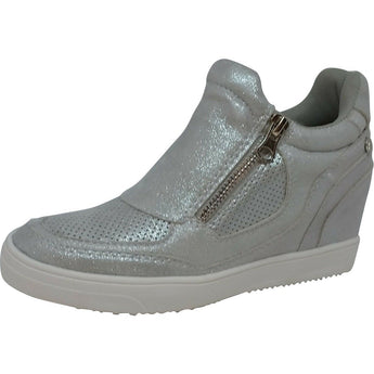 xti shoe boot in silver with side zips