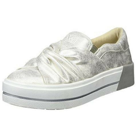 xti shoes 48026 silver bow front shoe with white sole and grey stripe