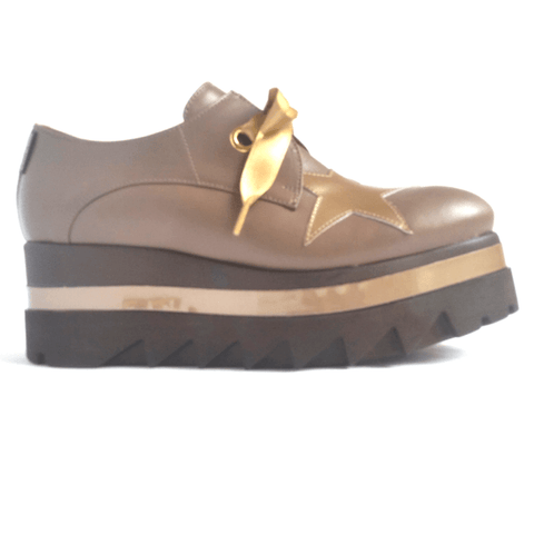 Marco Moreo brogue shoe taupe with gold star.JPEG