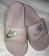 Nike Benassi JDI slide in Particle Pink with Crystahhled details - CRYSTAHHLED