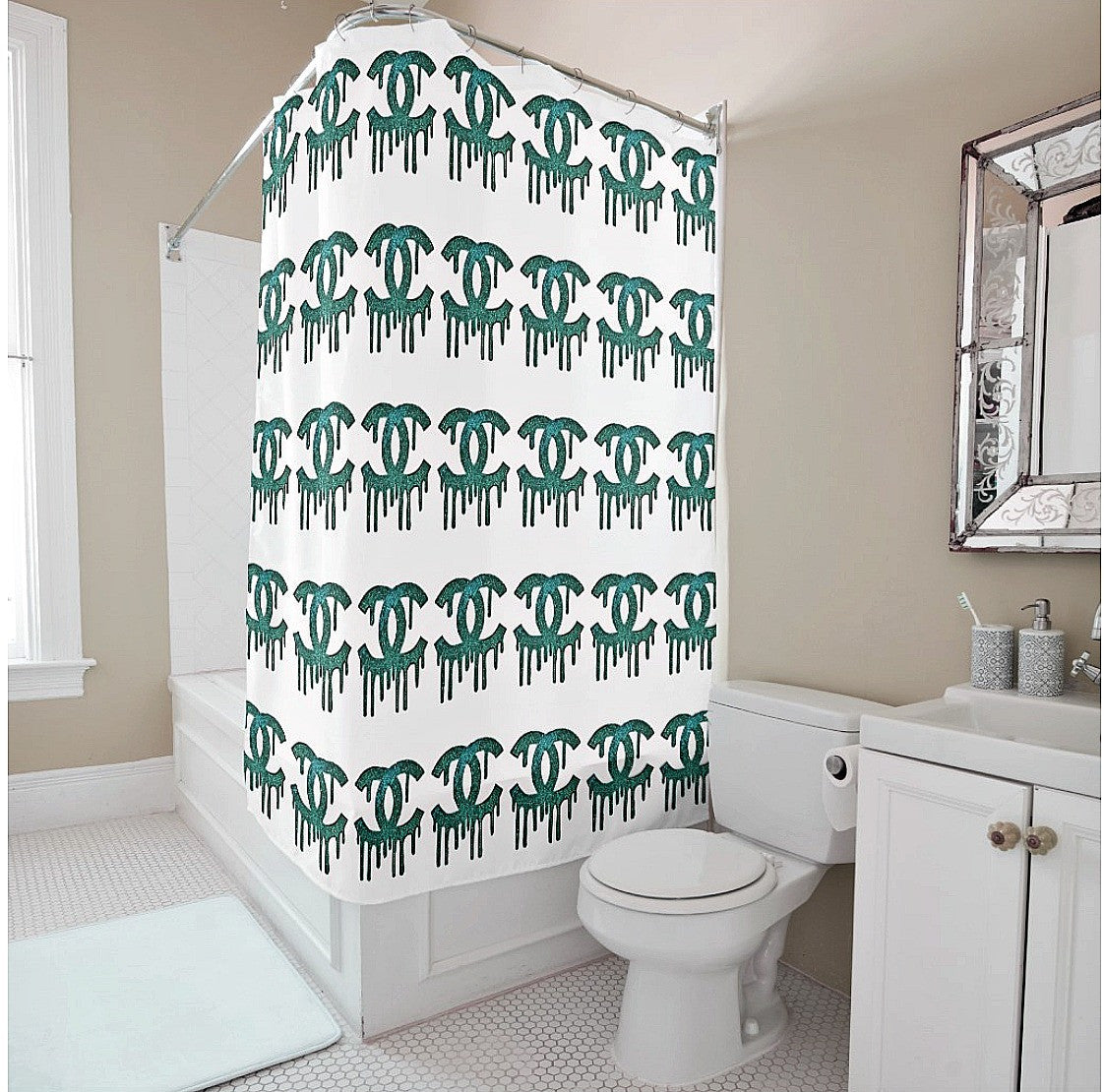 Shower Curtain- Dripping C's Multi - CRYSTAHHLED
