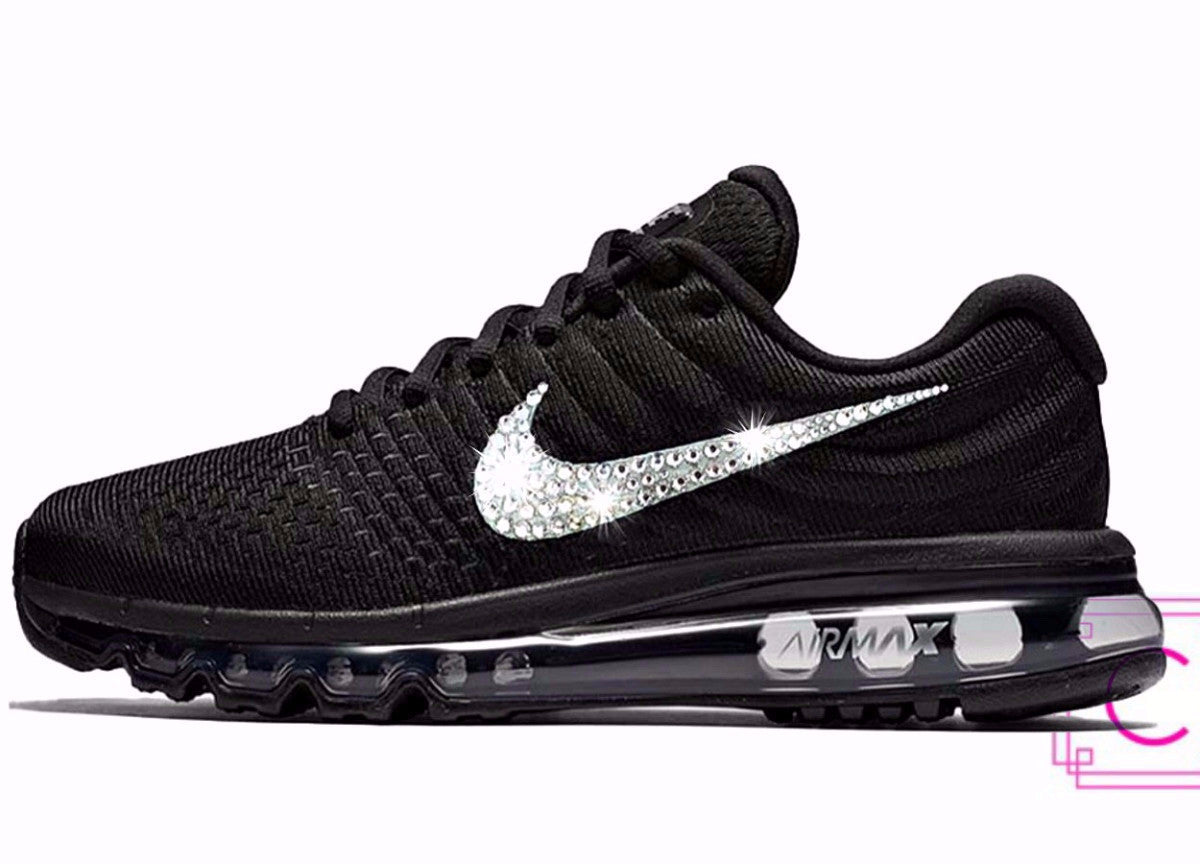 2017 Women s Nike Air Max Black with Swarovski crystal details 7ef7f865cb