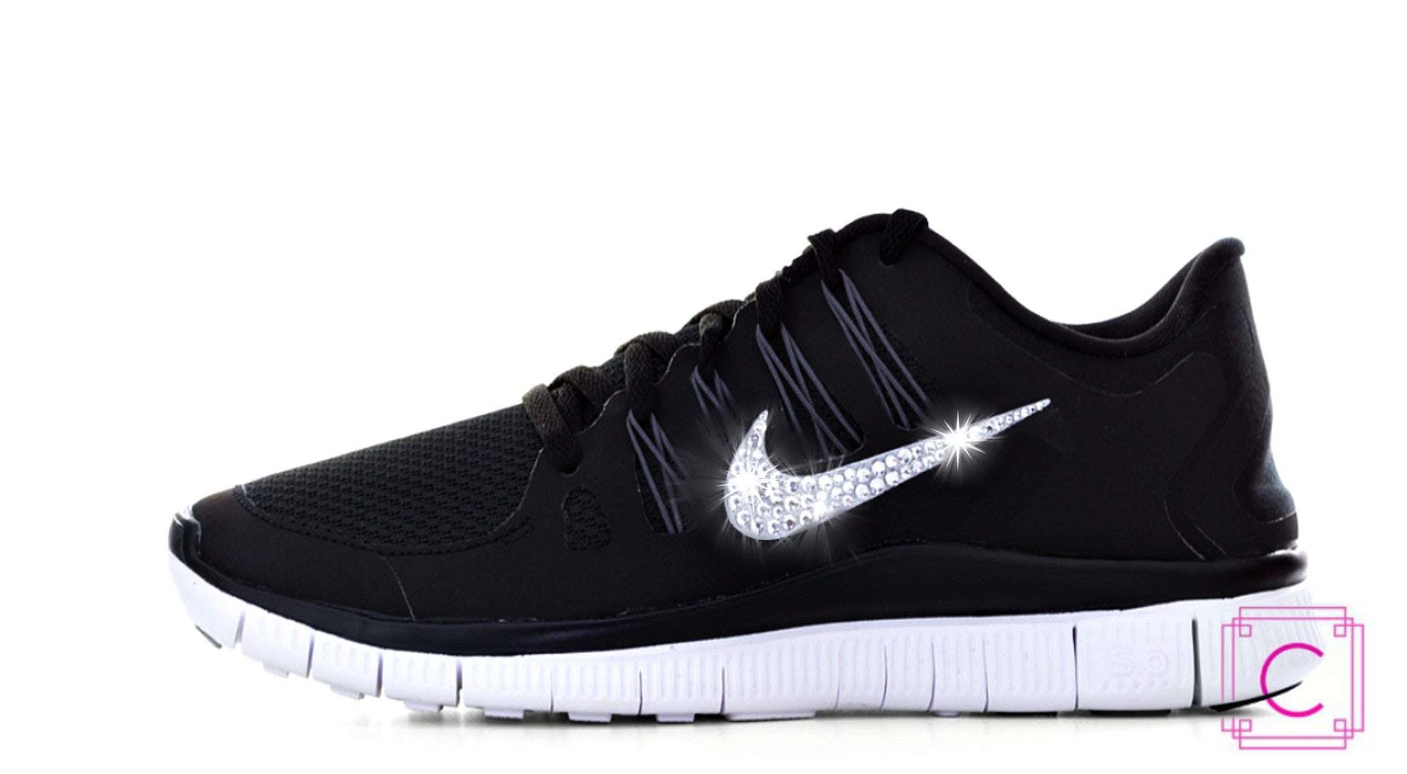 Women s Nike Free Run 5.0 in Black with SWAROVSKI Crystal Details c20896d192