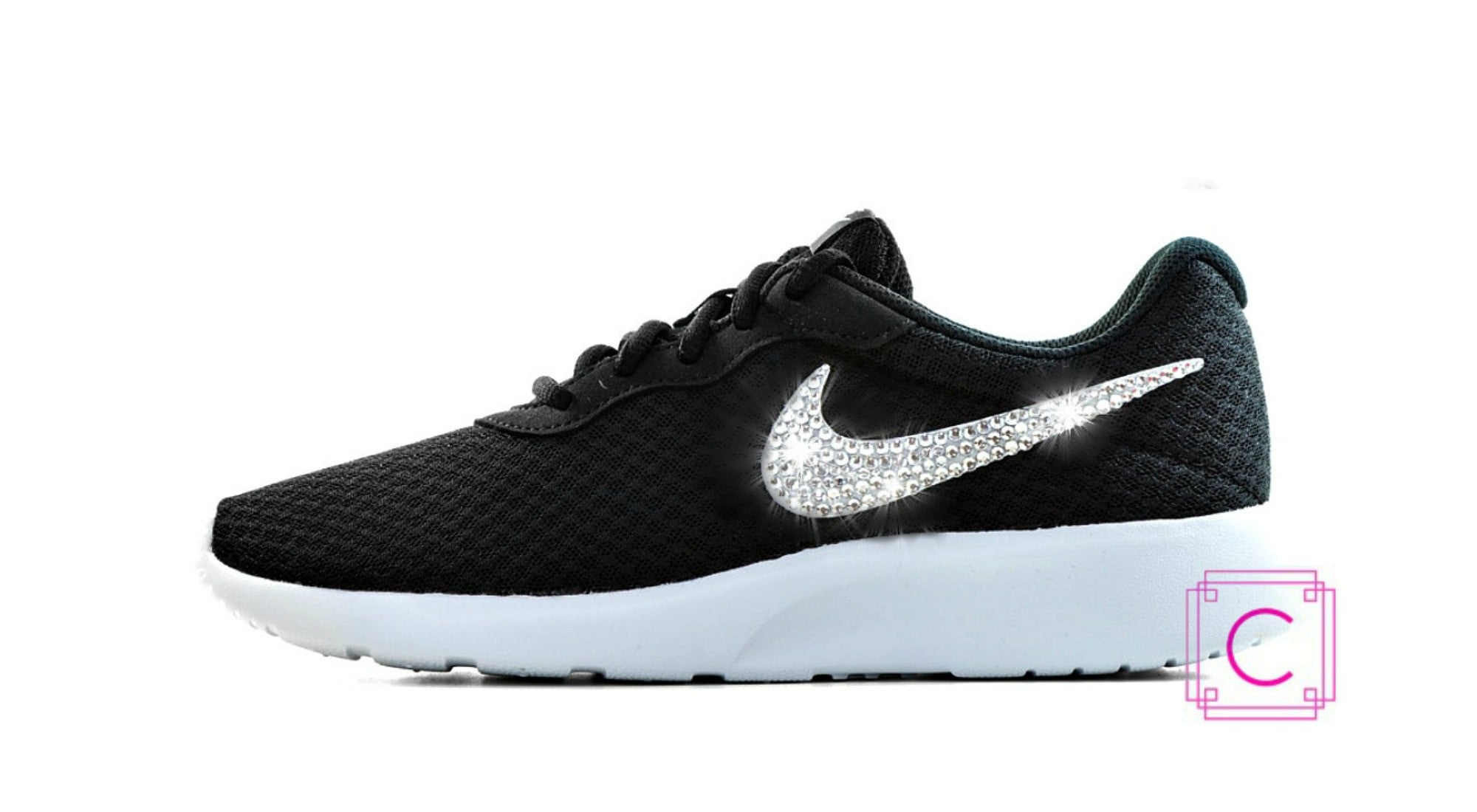 Women's Nike® Tanjun SE Womens Running Shoes in Black/White w/SWAROVSKI® Crystal details - CRYSTAHHLED
