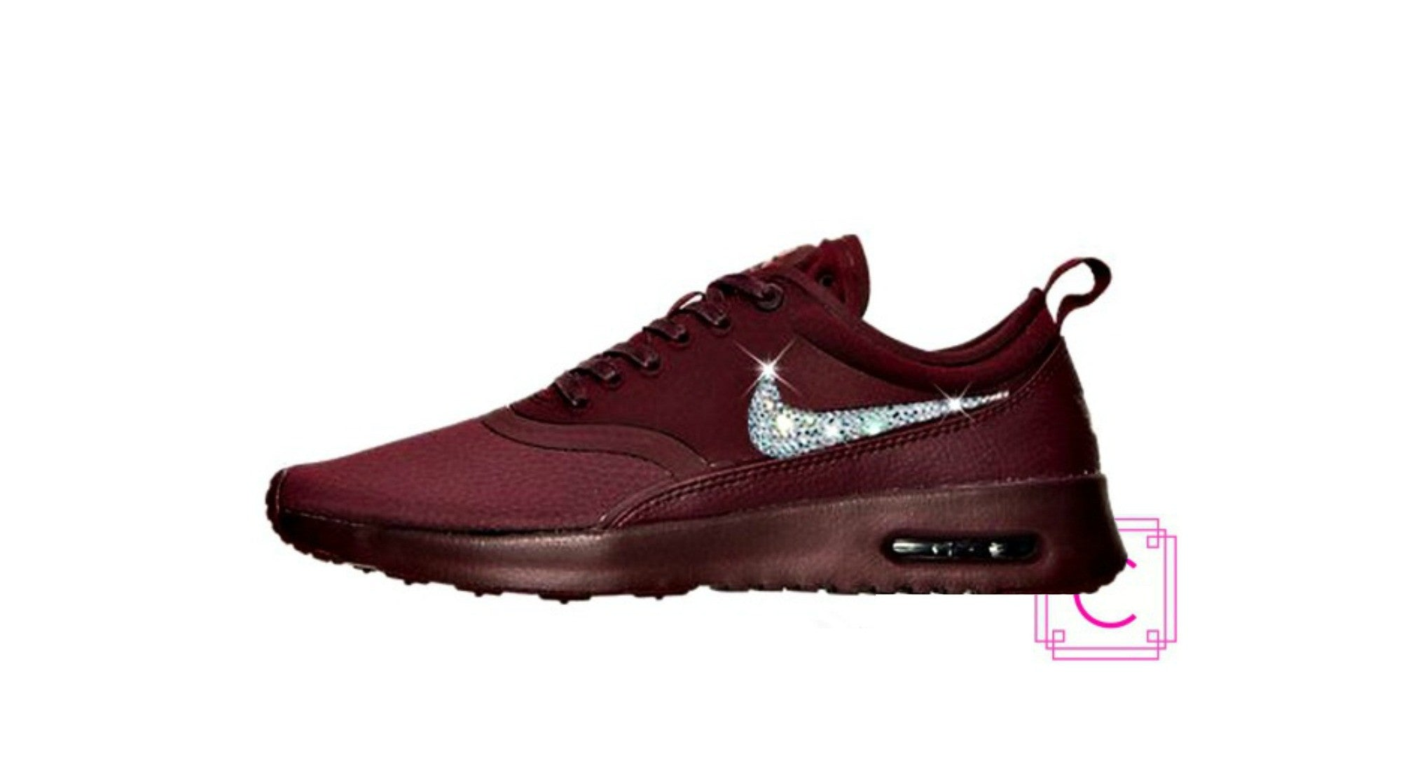 Women s Nike Air Max Thea Ultra in Night Maroon Night Maroon Dark Cayenne w Swarovski  Crystals 6e49b488b