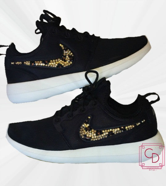 Women s Nike Roshe Two in Black w  White Sole with Swarovski crystal  cheetah print swoosh 1da2efe5f2