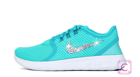 Women's Nike Free Run Commuter Running Shoes with SWAROVSKI® Xirius Rose Crystals - CRYSTAHHLED