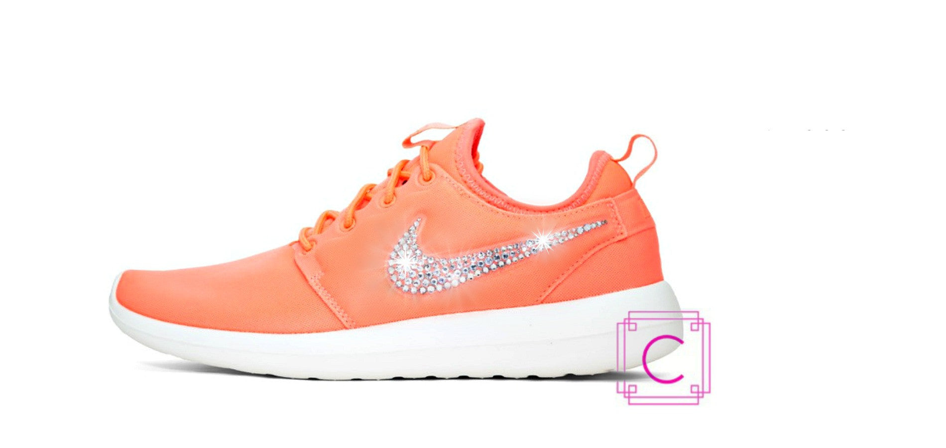 Women's Nike Roshe Two in Atomic Pink/Sail Sole with SWAROVSKI® crystal details - CRYSTAHHLED