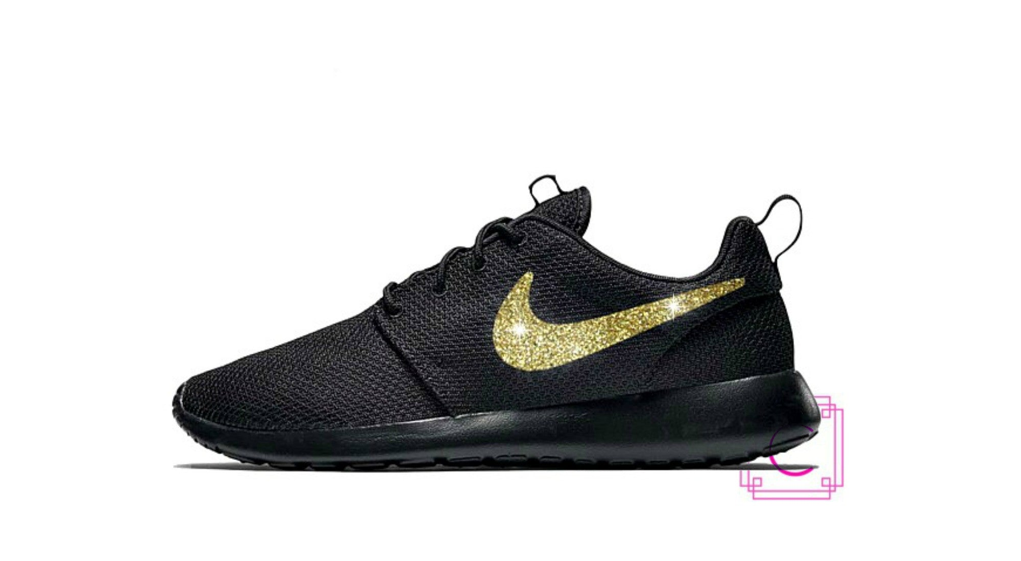 Women s Nike Roshe Two in all Black with Gold Glitter Swoosh detail 0743e57e24