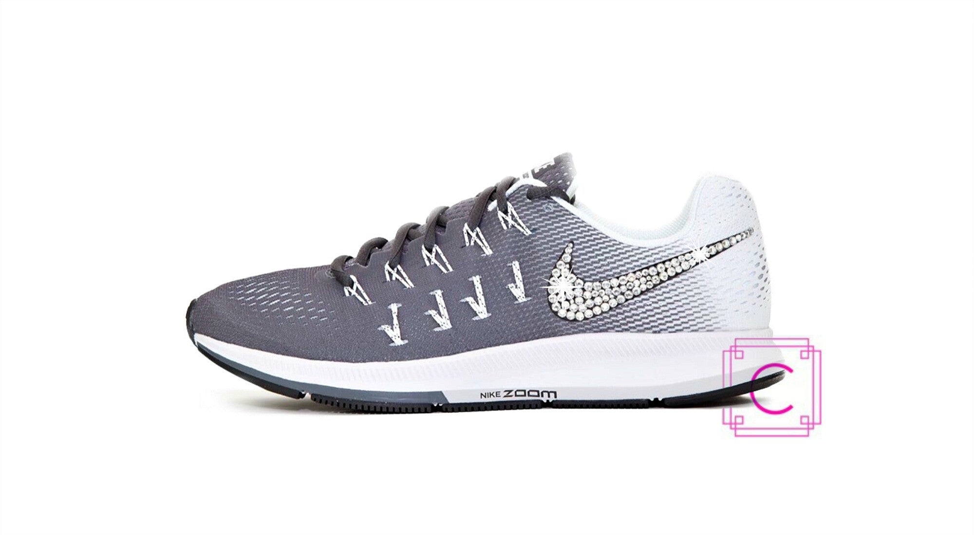 Women's Nike Zoom Pegasus 33 in Dark Grey/White/Black w/SWAROVSKI® Crystal details - CRYSTAHHLED