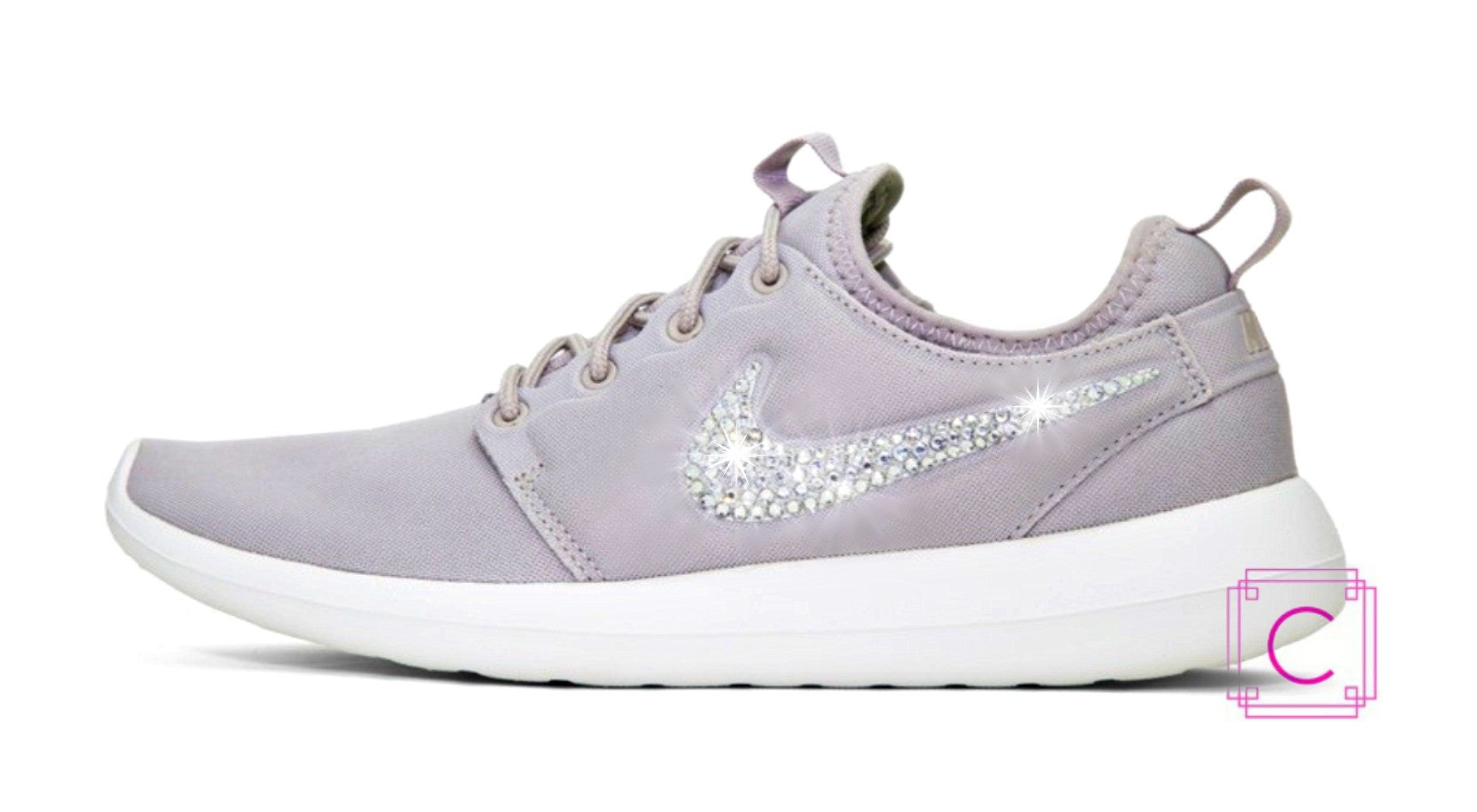 Women s Nike Roshe Two Premium in Wolf Grey w Swarovski Crystals details fb672a5a3bc7