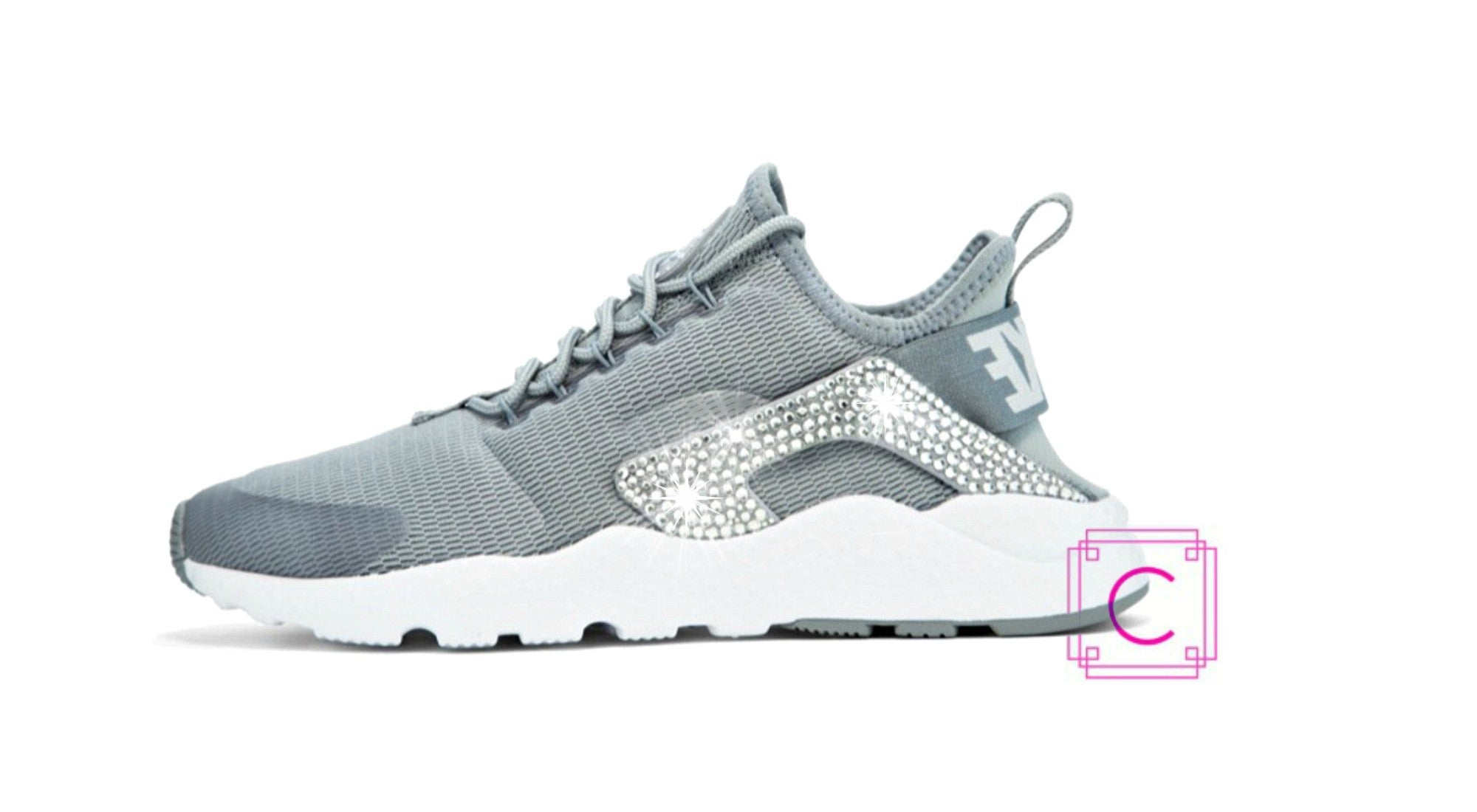 Women s Nike Air Huarache Run Ultra in Stealth White w SWAROVSKI® Crystal  details 418e10b03ee9